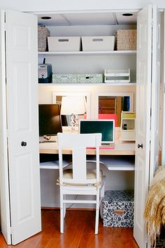 build a closet office | closet office, honey and closet desk