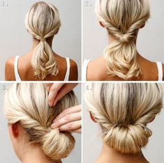 the easy chignon! I find this one easier to make really nice and much less hassle on medium length hair than long hair. Up Dos For Medium Hair, Medium Hair Styles, Curly Hair Styles, Updos For Thin Hair, Updos For Medium Length Hair Tutorial, Hair Medium, Easy Updo Thin Hair, Medium Long, Hair In A Bun