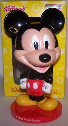 """($14.99) 2002 Kellogg's Keebler Store/mail Order Promotion Disney's Walt Disney World Mickey Mouse Bobble Head About 8"""" Inches Tall  From keebler"""
