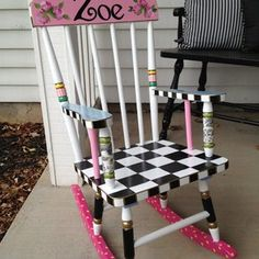 Hand Painted Childs Rocking Chair custom made by Michele Sprague Designs