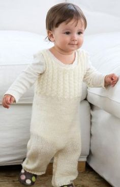 Cabled Baby Overalls Free Knitting Pattern from Red Heart Yarns