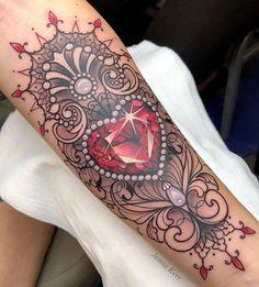 100 tattoo ideas for women - tattoo ideas, artists and models Gem Tattoo, Jewel Tattoo, Lace Tattoo, Tattoo You, Forarm Tattoos, Hand Tattoos, Sleeve Tattoos, Feather Tattoo Design, Feather Tattoos