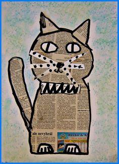 Splat Le Chat, Newspaper Crafts, Cat Cards, Arts Ed, Animal Crafts, Recycled Art, Art Club, Simple Art, Art Plastique