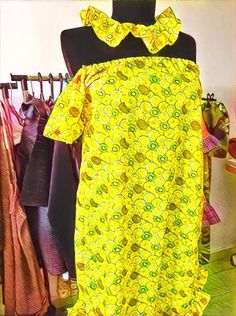 Lemon dress, cool for the summer with fabric necklace 👌