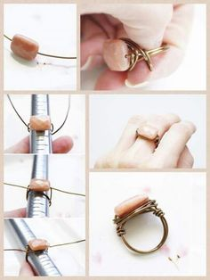 DIY Stone Ring Projects for Girls - DIY Schmuck selber machen - Jewelry Diy Bracelets And Rings, Diy Jewelry Rings, Diy Jewelry To Sell, Beaded Rings, Wire Jewelry, Jewelry Crafts, Jewelry Making, Diy Gem Rings, Diy Boho Rings