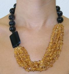 Black Agate Citrine Necklace Dalia Koss