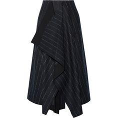 Cédric Charlier Asymmetric pinstriped wool-blend skirt (15 430 UAH) ❤ liked on Polyvore featuring skirts, midnight blue, purple skirt, draped asymmetrical skirt, asymmetrical skirts, wool blend skirt and layered skirt