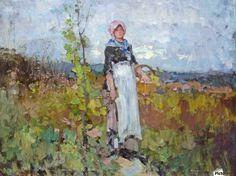 Young peasant girl in the vineyard - Nicolae Grigorescu - Canvas Artwork Canvas Artwork, Canvas Prints, Pierre Auguste Renoir, Vineyard, Old Things, Sculpture, Classic, Creative, Artist