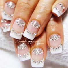 #nailart #french #glitter