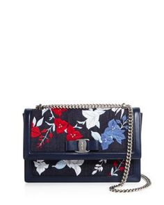 SALVATORE FERRAGAMO Ginny Embroidered Denim Shoulder Bag. #salvatoreferragamo #bags #shoulder bags #leather #denim #