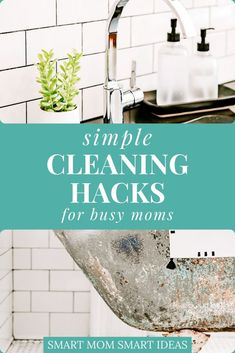Too busy to keep your home clean? Try these 6 cleaning hacks you can do every day to keep your home clean. Weekly Cleaning Checklist, Deep Cleaning Tips, Cleaning Hacks, Decluttering Ideas Feeling Overwhelmed, Overwhelmed Mom, Cleaning Faucets, Spring Cleaning, Getting Organized, Homemaking