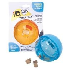 I got the 5-inch treat ball - if your dog is over ten pounds (and maybe even then), you'll want the larger size as well. I put part of his dinner in it (holds maybe half a cup of kibble) and let him go to town. GREAT way to slow your dog's eating down and it forces them to think. A must-have for intelligent breeds!