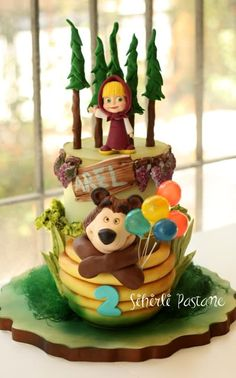 Masha and The Bear Cake Birthday Cake Models, Baby First Birthday Cake, Pig Birthday Cakes, Bear Birthday, 2nd Birthday Parties, Masha Cake, Marsha And The Bear, Festa Moana Baby, Buttercream Birthday Cake