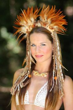 Tribal Feather Goddess Headdress by lotuscircle on Etsy Burning Man 2015, Tribal Feather, Witch Costumes, Feather Headdress, Festival Costumes, India, Floral Hair, Gypsy Style, Flowers In Hair