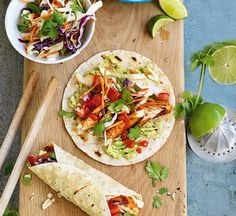 These healthy fish tacos are easy enough for a midweek dinner, or even for casual weekend entertaining. Sweet Potato Recipes Healthy, Healthy Recipes, Healthy Food, Lunch Recipes, Healthy Eating, Fish Tacos With Cabbage, Sweet Potato Wedges, Fish Dishes, Meal Planner
