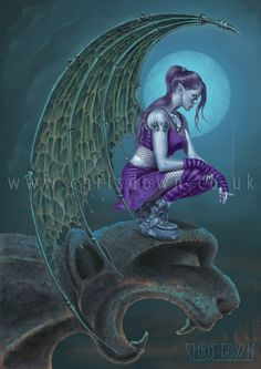 Succubus Moon - Art Print > Gothic Fantasy > Art by Theme > Home > Fantasy art, fairy art, and gothic art from fantasy artist Chris Down. Angels And Demons, Dark Angels, Celtic Art, Gothic Art, Fairy Art, Dark Fantasy Art, Mythical Creatures, Fairytale Creatures, Faeries