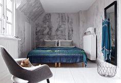 Bedroom. Designer Rebecca Uth's home in Copenhagen. Photo by Niels Ahlberg.