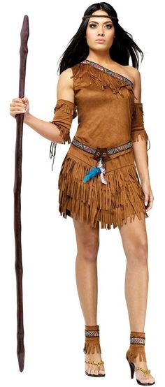 #121694 Join the tribe this Halloween as a Pow Wow Native American. The Pow Wow Native American includes a brown, one shoulder, suede dress with fringe embellishment and pattern design neck hem. The b