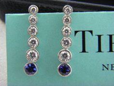 Tiffany & Co.Tiffany Jazz graduated drop earrings with sapphire &diamonds mint