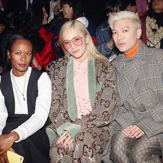 Guests at the Gucci Fall Winter 2019 show, Shala Monroque captured with Tina Leung and Bryan Boy. Gucci Fashion, Fashion Show, Revolvers, Designer Wear, Front Row, Fashion Inspiration, Alternative, Fall Winter, Vogue