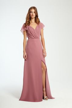 Flutter-sleeve bridesmaid dress with high slit by @m_lhuillier | Bridal Market Fall 2016