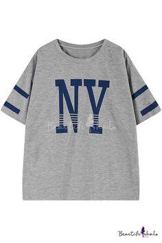 Gray Baseball Boyfriend Style Stripe Print T-Shirt, Fashion Style Tees