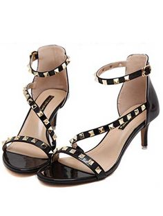 Korea style rivet high heel sandals YS-C5616-Lovelyshoes.net