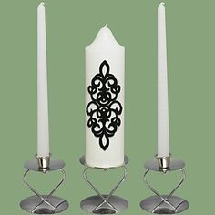 Damask Wedding Unity Candles Set-White (Candle Holders Not Included) – USD $ 13.99