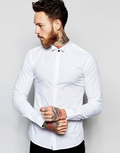 Image 1 of ASOS Skinny Shirt With Wing Collar And Long Sleeves