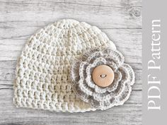 PDF Pattern Crocheted Baby Girl Hat.