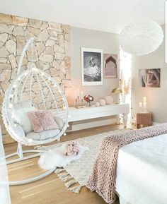 Love the design in this bedroom (especially the stone)! Lots of decor inspo her Love the design in this bedroom (especially the stone)! Lots of decor inspo here for all of you! Cute Bedroom Decor, Bedroom Decor For Teen Girls, Cute Bedroom Ideas, Room Design Bedroom, Girl Bedroom Designs, Teen Room Decor, Stylish Bedroom, Room Ideas Bedroom, Master Bedroom
