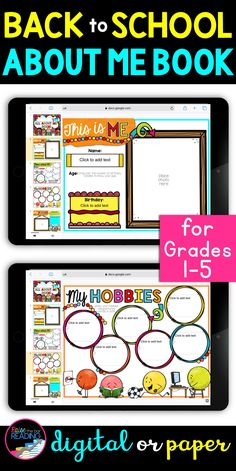 A printable or digital all about me book is the perfect back to school icebreaker activity to get to know your students through distance learning! Google Classroom activities for distance learning are so user friendly and no prep for the teacher. Fun and colorful digital back to school writing activity for 1st grade, 2nd grade, 3rd grade, 4th grade, or 5th grade. First week of school activity elementary students can complete at home or in the class   Back to school activities for Kids