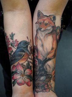 Tatuagens no Antebraço   raposa e pássaro
