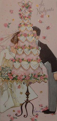 Gold Accents - Bride & Groom Behind Wedding Cake Vintage Greeting Card 1960s Wedding, Vintage Wedding Cards, Vintage Wedding Invitations, Vintage Greeting Cards, Wedding Art, Vintage Bridal, Vintage Postcards, Wedding Anniversary Cards, Wedding Wishes