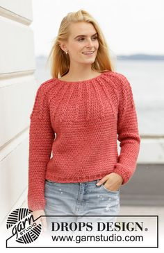Crocheted sweater with round yoke in DROPS Air. The piece is worked top down with texture. Sizes S - XXXL. Design crochet Blushing Embers / DROPS - Free crochet patterns by DROPS Design Pull Crochet, Crochet Yoke, Crochet Hook Sizes, Crochet Cardigan, Free Crochet, Knit Cowl, Hand Crochet, Knitting Patterns Free, Free Knitting