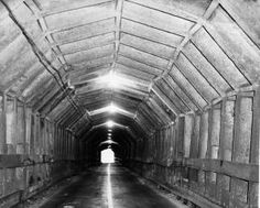 KNOWN AS Broadway, Kennedy, OR INTER-COUNTY TUNNEL. Circa 1947 - Interior of the 1,000 foot timber bore opened in the 1903. The Contra Costa County Board of Supervisors authorized the closing of the tunnel in June 1947. (Russ Reed/Oakland Tribune)