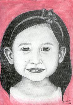 Retrato a lápiz de niña por @EvangeCaceres