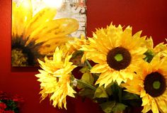 Sunflower Wall Art and Silk Flowers