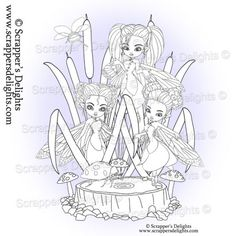 Fairy Trio V2 Many of you asked if I could sell some of the images within the digital colouring book  separately and in all formats so here they are.  1 Design 3 Images in total  JPG & PNG format  THIS IMAGE IS WITHIN THE  Fairies And Pixies V2 Colouring Book Digital Download http://scrappersdelights.com/store/index.php?main_page=product_info&cPath=211&products_id=968   Simply print and colour in as you would a traditional rubber stamp or leave clear Perfect for Stitching, Painting…