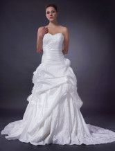 Ivory A-line Strapless Taffeta Bridal Gown - $173.99