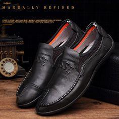 Kényelmes kézzel készített bőrcipők Alkalmi férfi lakások Design férfi  vezetés cipők Soft Bottom Bőr férfi cipők Méret 37-43 b6645b6e04