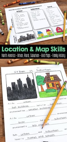 This location and map skills social studies unit teaches students about urban, rural, and suburban communities. These activities can be implemented in whole group, small group, and independently. 3rd Grade Social Studies, Social Studies Lesson Plans, Kindergarten Social Studies, Social Studies Classroom, Social Studies Activities, History Classroom, Teaching Social Studies, Elementary Social Studies, Teaching Maps