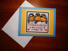 3 Bluebird Friendship cross stitch greeting by TheGardenStitcher, $6.95