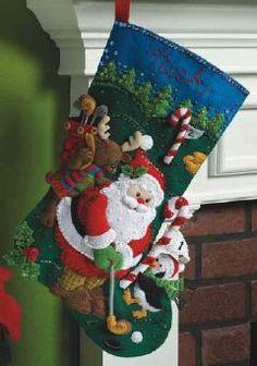Bucilla Golfing Santa Felt Stocking Kit