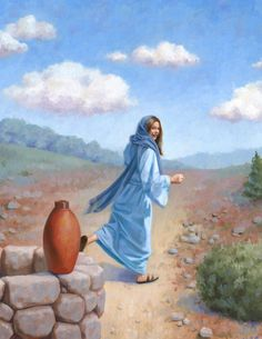 Samaritan Woman at the Well, Original Biblical Painting, x Framed Oil Painting Bible Photos, Bible Pictures, Jesus Pictures, Jesus Stories, Bible Stories, Christian Images, Christian Art, Well Images, Jesus Christ Quotes