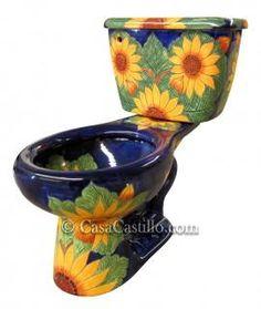 :: Mexican Talavera Toilet Sunflowers::