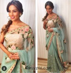 Bollywood beauty Bipasha basu in Sabyasachi netted saree at Comedy Nights with Kapil comedy show. She looks beautiful in floral embroidery netted saree wit