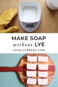 An introduction to what natural soap is and how you can make it at home. Includes how to make soap without lye, and the different types of lye you can use Soap Making Recipes, Homemade Soap Recipes, Homemade Paint, Clear Glycerin Soap, Soap Display, Soap Maker, Liquid Hand Soap, Lotion Bars, Diy Lotion