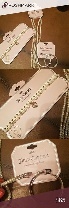 😍Juicy Couture pearl choker, earings and necklace BRAND NEW Juicy Couture pearl necklace, choker and earings set!!!! Super cute and fun!!!! Juicy Couture Jewelry Necklaces
