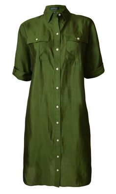 Ralph Lauren Women's Short Sleeve Silk Shirt Dress-FP-0. Silk. Point collar; Short sleeves with rolled cuffs; Applied buttoned placket. Buttoned patch pockets at the chest. Curved vented hem. Dry clean only.